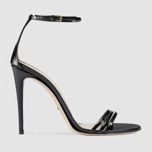 Gucci Women Shoes Metallic Leather Pump with Crystal Double G 50mm Heel-Black