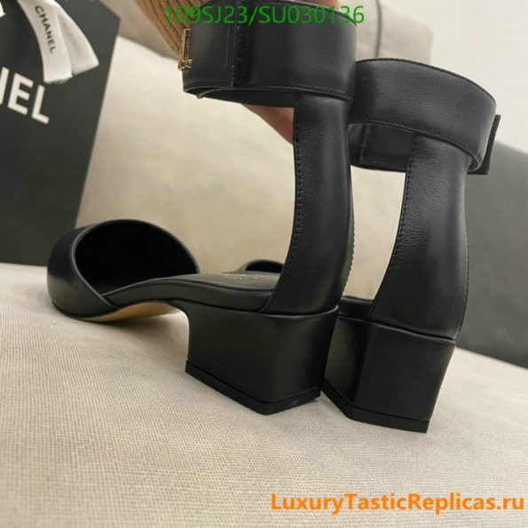 CHANEL pointed high heels classic luxury brand leather straps thick heel sandals party shoes (10)