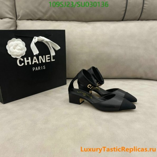 CHANEL pointed high heels classic luxury brand leather straps thick heel sandals party shoes (4)