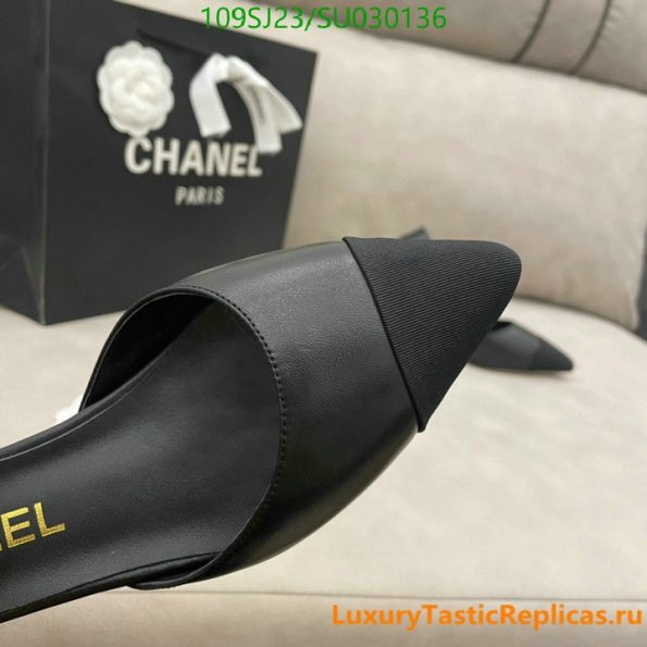 CHANEL pointed high heels classic luxury brand leather straps thick heel sandals party shoes (8)