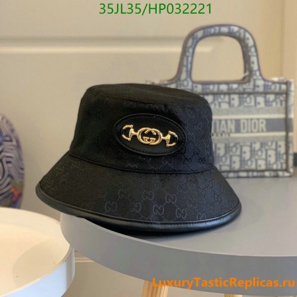 Gucci 2021 summer single-sided straw hat ladies Gucci printed cotton sunscreen fisherman hat (4)