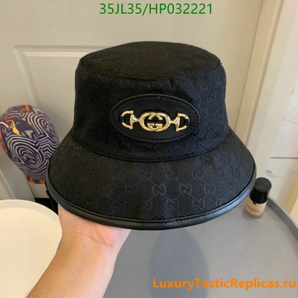 Gucci 2021 summer single-sided straw hat ladies Gucci printed cotton sunscreen fisherman hat (5)